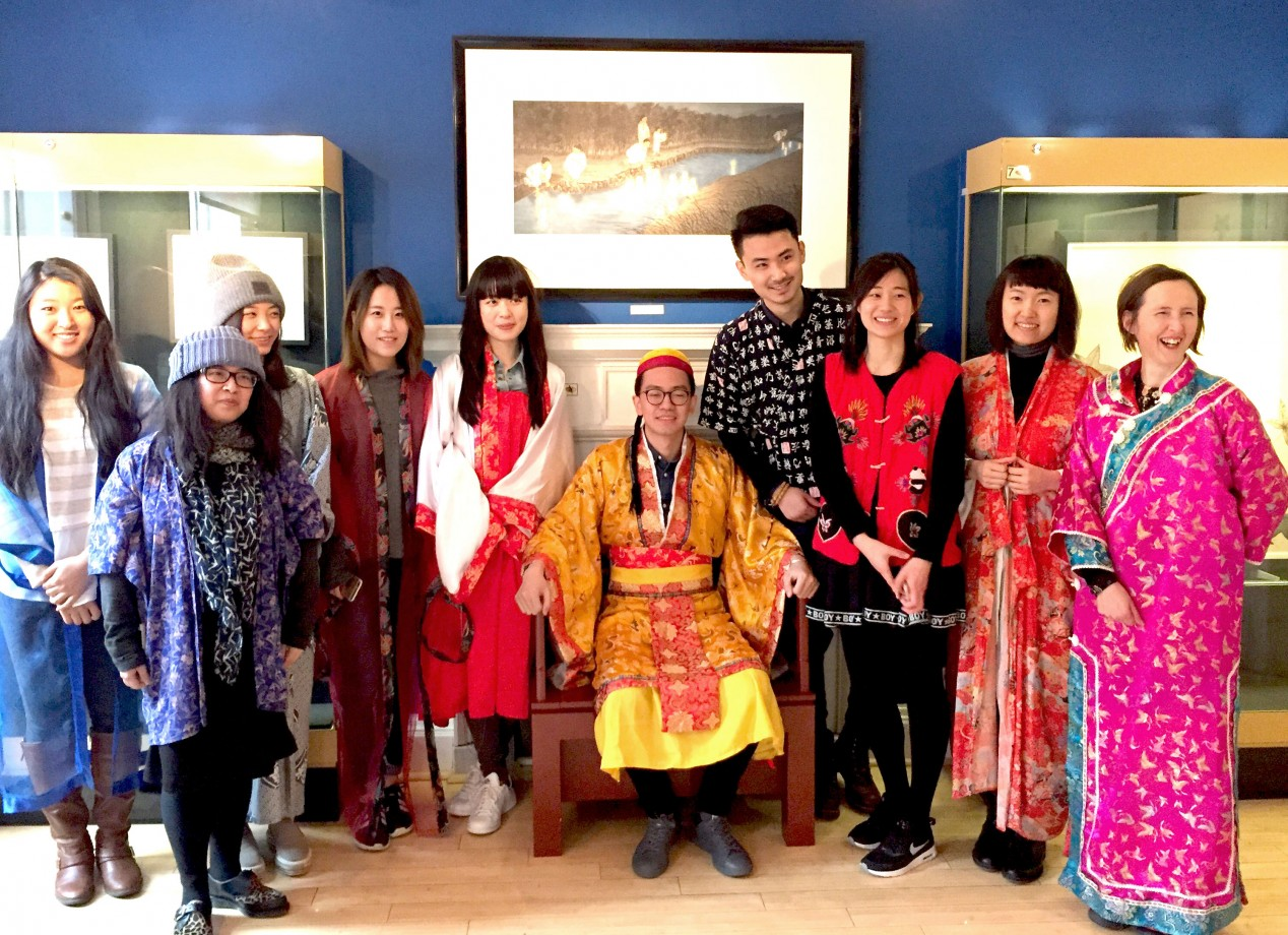 Asian Art and its Markets students getting into character at the Museum of East Asian Art, Bath >