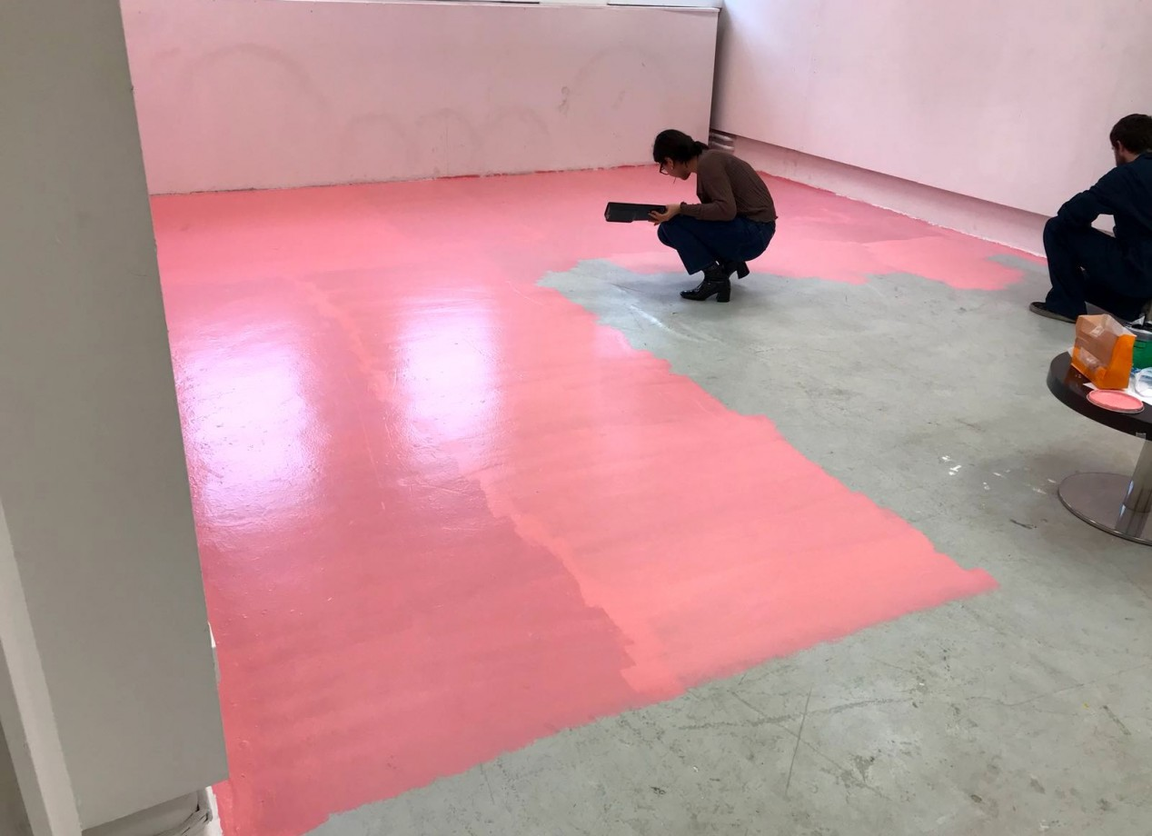 The installation begins with a new coat of paint